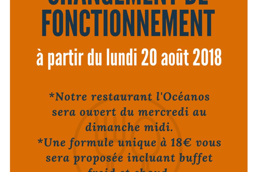 Restaurant l'Océanos – Changement de fonctionnement